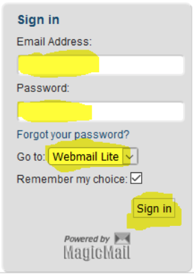 "Sign in box, enter email, password and select ""Webmail lite"", then sign in."